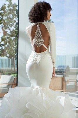 Unique Long Sleeve V Neck Backless Applique Ruffles Mermaid Wedding Dresses_2