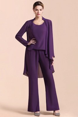 Grape Chiffon Mother of Bride Jumpsuit with Long-Sleeve Jacket_4