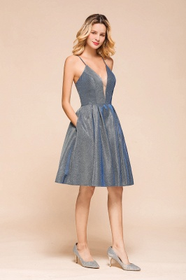 Spaghetti Strap V Neck Sequined Criss Cross A Line Short Homecoming Dresses_7