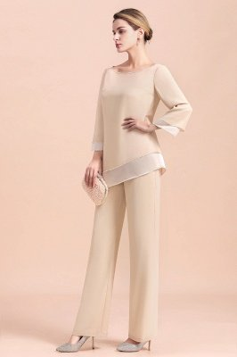 Champagne Bateau  3/4 Sleeves Chiffon Mother of Bride Pant Suits_10