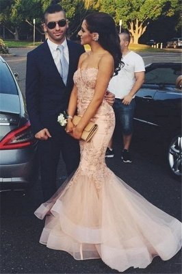 Strapless Sweetheart Appliques Tulle Pink Mermaid Prom Dresses_2