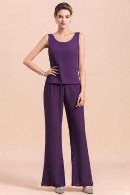 Grape Chiffon Mother of Bride Jumpsuit with Long-Sleeve Jacket_12