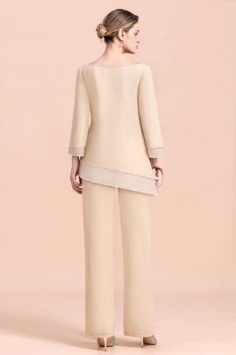 Champagne Bateau  3/4 Sleeves Chiffon Mother of Bride Pant Suits_3
