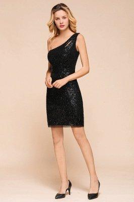 Black One Shoulder Sequined Sheath Homecoming Dresses | Short Cocktail Dresses_5