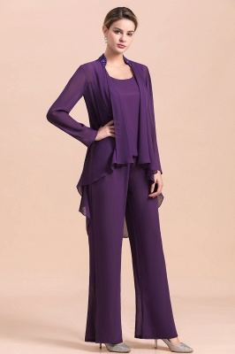 Grape Chiffon Mother of Bride Jumpsuit with Long-Sleeve Jacket_6