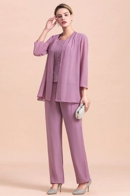 Lilac Chiffon Cheap Mother of Bride Pant Suits with Half Sleeves Jacket_8