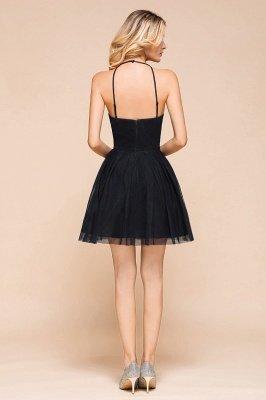 Latest Halter Applique Lace Short A Line Homecoming Dresses | Backless Cocktail Dresses_3