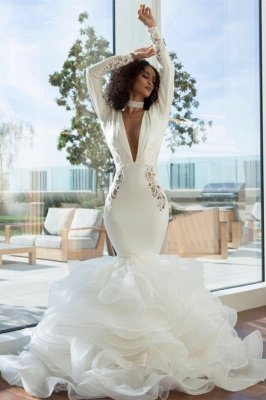 Unique Long Sleeve V Neck Backless Applique Ruffles Mermaid Wedding Dresses