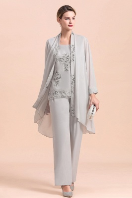 Grey Chiffon Mother of Bride Pant Suits with Half Sleeves Long Jacket_5