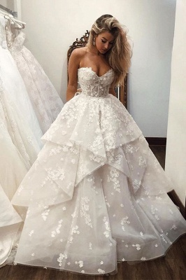 Charming Sweetheart Sleeveless Applique Tiered A-line Wedding Dresses | Beading Bridal Gown_1