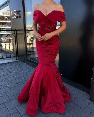 Burgundy Sweetheart Off The Shoulder Beading Floor Length Mermaid Prom Dresses_2