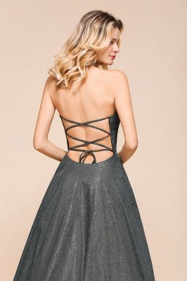 Attractive Strapless Front Slit A Line Prom Dresses | Criss Cross Sequined Evening Dresses_9