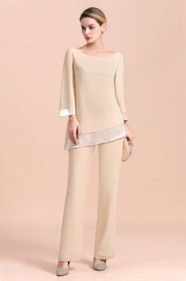 Champagne Bateau  3/4 Sleeves Chiffon Mother of Bride Pant Suits_1