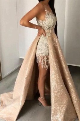 Alluring Jewel Sleeveless Applique Beading Prom Dresses | Sequined A Line Evening Gown