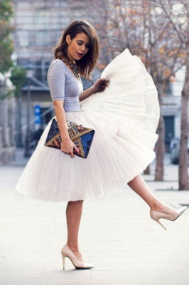 Elegant Tulle Short Ball-Gown Knee Length Elastic Women Skirts