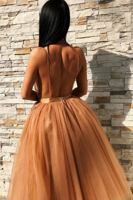 Champagne Straps V-neck Flower Ruffles A-line Short Homecoming Dresses | Backless Graduation Dresses_2