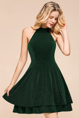 Green Halter Sleeveless Sequined Backless Sheath Homecoming Dresses | Short Cocktail Dresses_9