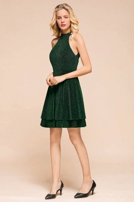 Green Halter Sleeveless Sequined Backless Sheath Homecoming Dresses | Short Cocktail Dresses_6