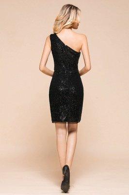 Black One Shoulder Sequined Sheath Homecoming Dresses | Short Cocktail Dresses_3