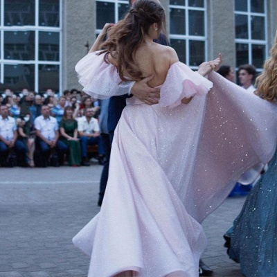 Pink Off-the-shoulder Sequined Front Slit A-line Floor Length Prom Dresses | Backless Evening Gown_5