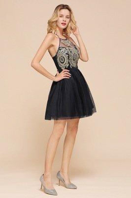 Latest Halter Applique Lace Short A Line Homecoming Dresses | Backless Cocktail Dresses_7