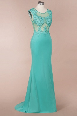 Green Jewel Sleeveless Applique Beading Lace Floor Length Prom Dresses | Full Back  Lace Evening Dresses