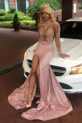 High Neck Long Sleeves Sheer Sexy Fitted Prom Dresses with High Slit