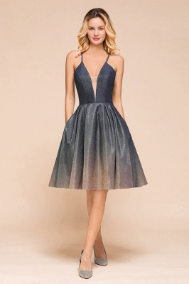 Sexy Spaghetti Strap V-neck Ruffles Short Knee Length Homecoming Dresses | Criss Cross Graduation Dresses