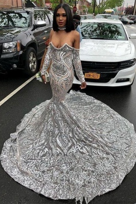 Off the Shoulder Long Sleeves Mermaid Silver Appliques Prom Dress
