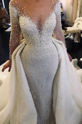 Ivory Long Sleeves V-neck Button Overall Covered Pearls Wedding Dresses with Detachable Train