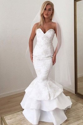 Sweetheart Backless Applique Lace Mermaid Wedding Dresses | Sexy Tiered Bridal Gown_3