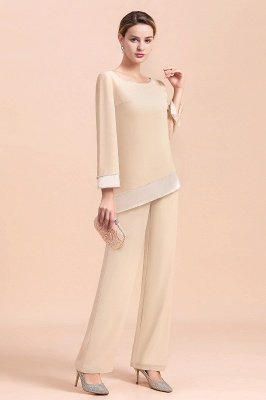 Champagne Bateau  3/4 Sleeves Chiffon Mother of Bride Pant Suits_11