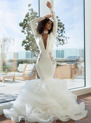 Unique Long Sleeve V Neck Backless Applique Ruffles Mermaid Wedding Dresses_4