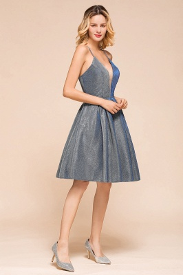 Spaghetti Strap V Neck Sequined Criss Cross A Line Short Homecoming Dresses_9