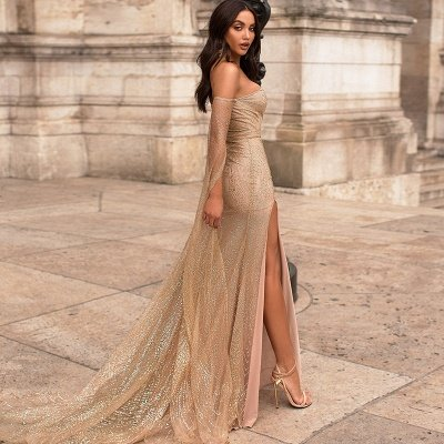 Deep V-neck Off The Shoulder Front Slit Sequined Backless Prom Dresses | Fitted And Flare Evening Dresses_3