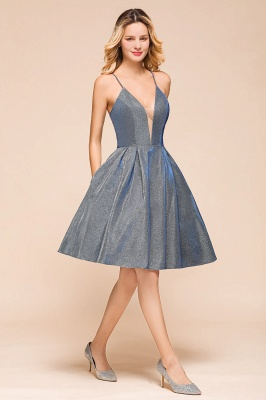Spaghetti Strap V Neck Sequined Criss Cross A Line Short Homecoming Dresses_4