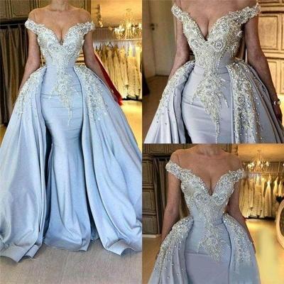 Jewel Short Sleeve Deep V Neck Applique Beading Mermaid Prom Dresses With Detachable Skirt_2