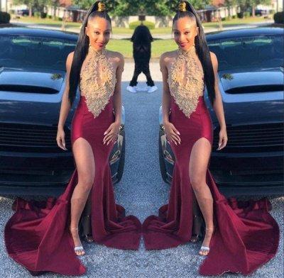 Alluring Halter Sleeveless Applique Side Slit Mermaid Prom Dresses | Sexy Evening Dresses_2
