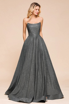 Attractive Strapless Front Slit A Line Prom Dresses | Criss Cross Sequined Evening Dresses_5
