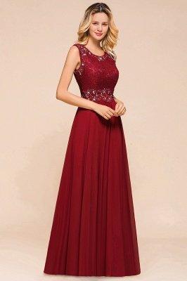 Burgundy Jewel Sleeveless Applique Lace Floor Length Prom Dresses | Beading Cheap Party Dresses_4