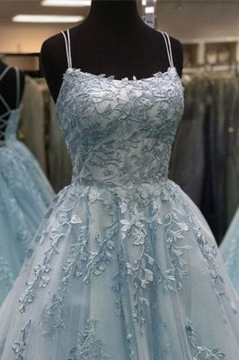 Elegant Spaghetti Strap Strapless Backless Applique Lace A Line Prom Dresses | Sleeveless Evening Dresses_4