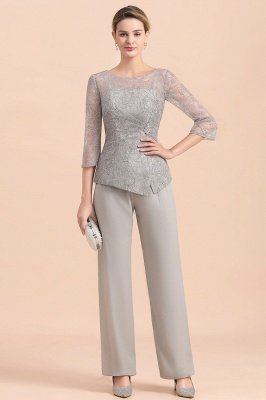 Elegant Smokey Blue Round Neck Half Sleeves Lace Mother of Bride Pants Suits_1