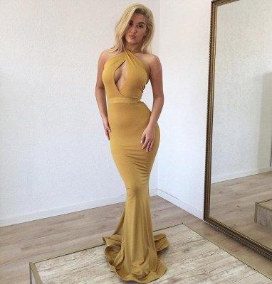 Sexy Halter Sleeveless Mermaid Prom Dresses | Floor Length Ruffles Evening Gown_2
