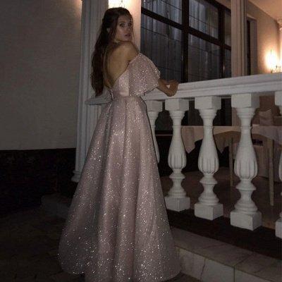 Pink Off-the-shoulder Sequined Front Slit A-line Floor Length Prom Dresses | Backless Evening Gown_4