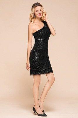 Black One Shoulder Sequined Sheath Homecoming Dresses | Short Cocktail Dresses_4