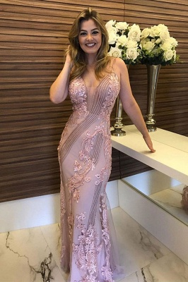 Attractive Pink Strap Sleeveless Applique Beading Sheath Floor Length Prom Dresses | Sexy Evening Dresses_1