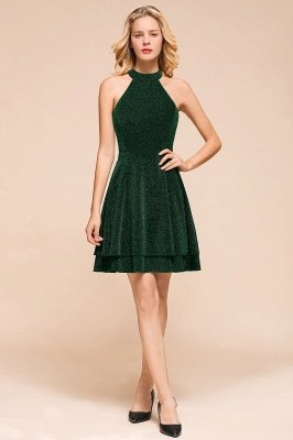 Green Halter Sleeveless Sequined Backless Sheath Homecoming Dresses | Short Cocktail Dresses