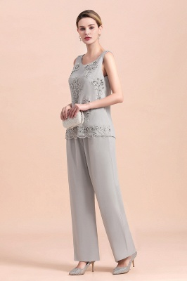 Grey Chiffon Mother of Bride Pant Suits with Half Sleeves Long Jacket_8