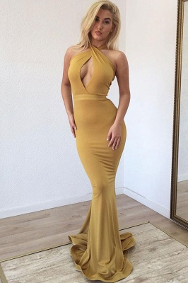 Sexy Halter Sleeveless Mermaid Prom Dresses | Floor Length Ruffles Evening Gown