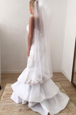 Sweetheart Backless Applique Lace Mermaid Wedding Dresses | Sexy Tiered Bridal Gown_2